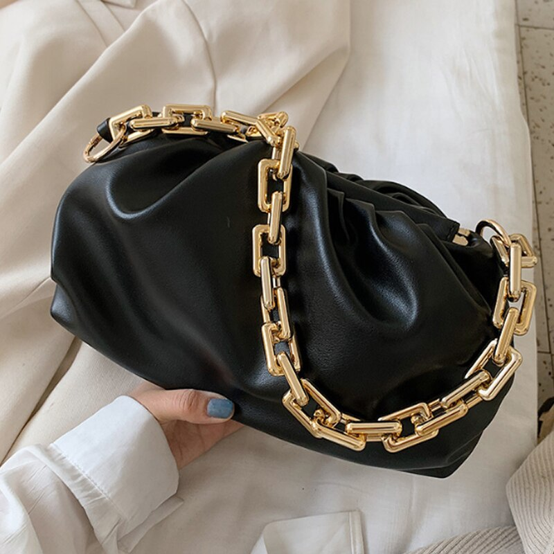 Luxurious Gold Chain Cloud bag Soft Leather Hobos Bag Single Shoulder Purse Women Crossbody Bag Luxury Handbag And Purse
