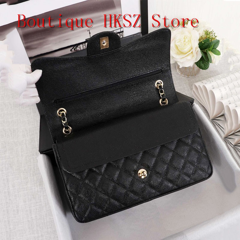 Sacs à bandoulière en cuir véritable de luxe haut de gamme pour femmes sac à main Caviar sac à main sac à bandoulière matelassé à rabat carré