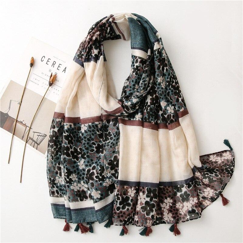 Высококачественный шарф с принтом для женщин, солнцезащитные шарфы, прямоугольные шали, женские шали, Тонкий пляжный хиджаб с кисточками владимир шали пространство предчувствия