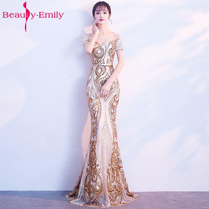 Beauty Emily Golden فساتين سهرة طويلة بدون ظهر أنيقة 2020 حورية البحر الأسود حفلة الترتر فستان ماكسي فساتين حفلات رسمية
