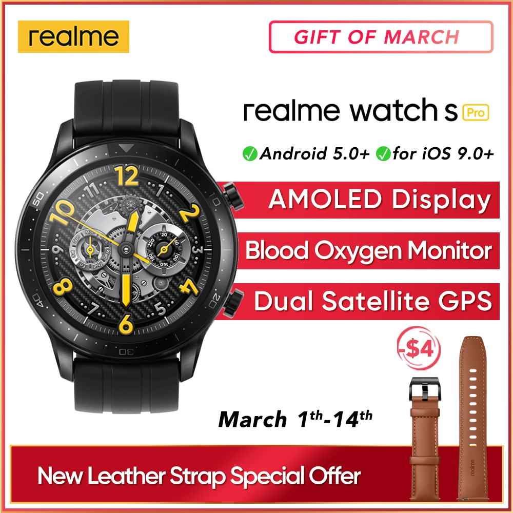 "realme Watch S pro Smart Watch 1.39""Always-On Display Powerful Dual Processor Dual Satellite GPS G"