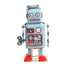 Vintage mécanique horloge liquidation marche Robot étain jouet enfants cadeau Collection 95AE