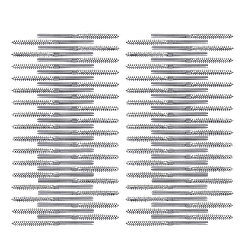 Swage Lag tornillos izquierda y derecha 64 paquete para la barandilla de Cable de 1/8 pulgadas, 316 escalera de acero inoxidable barandilla poste de madera balaustres Sys