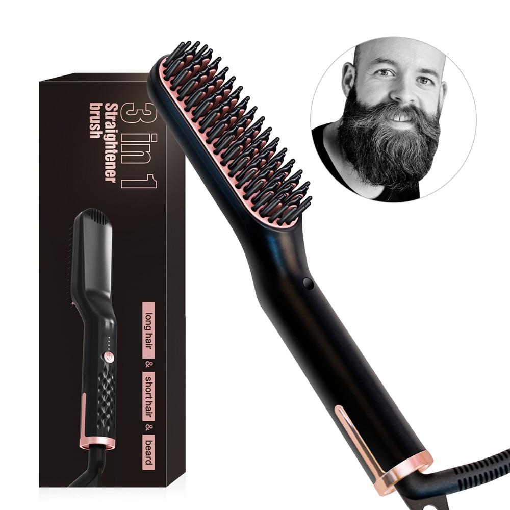 2 in 1 Men Beard Straightener Hair Straightener Quick Heating Professional Beard Straightening Comb Electric Beard Smooth Brush
