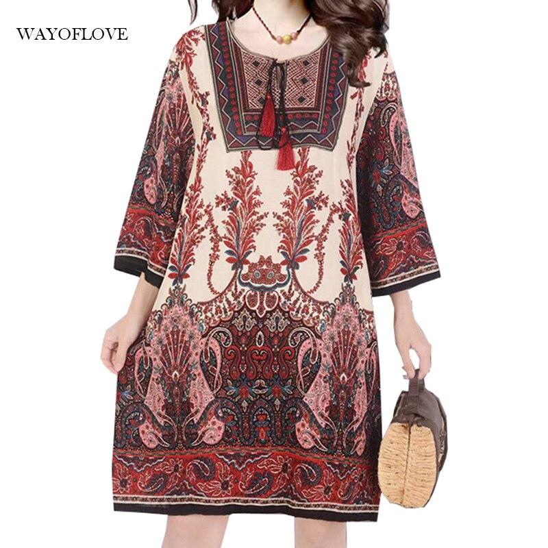 WAYOFLOVE Plus Size Embroidery Dress 2021 Vintage Elegant Summer Beach Women Loose Midi Casual Holiday Dresses
