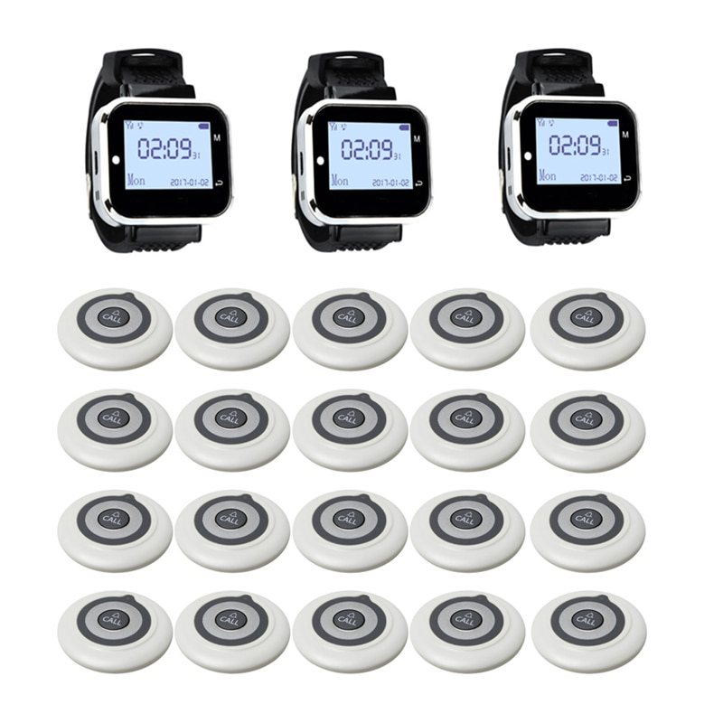 Wireless Calling System 3 Watch Receiver + 20 Super Thin Buttons Transmitter with Big Screen Guest Pager for Restaurant