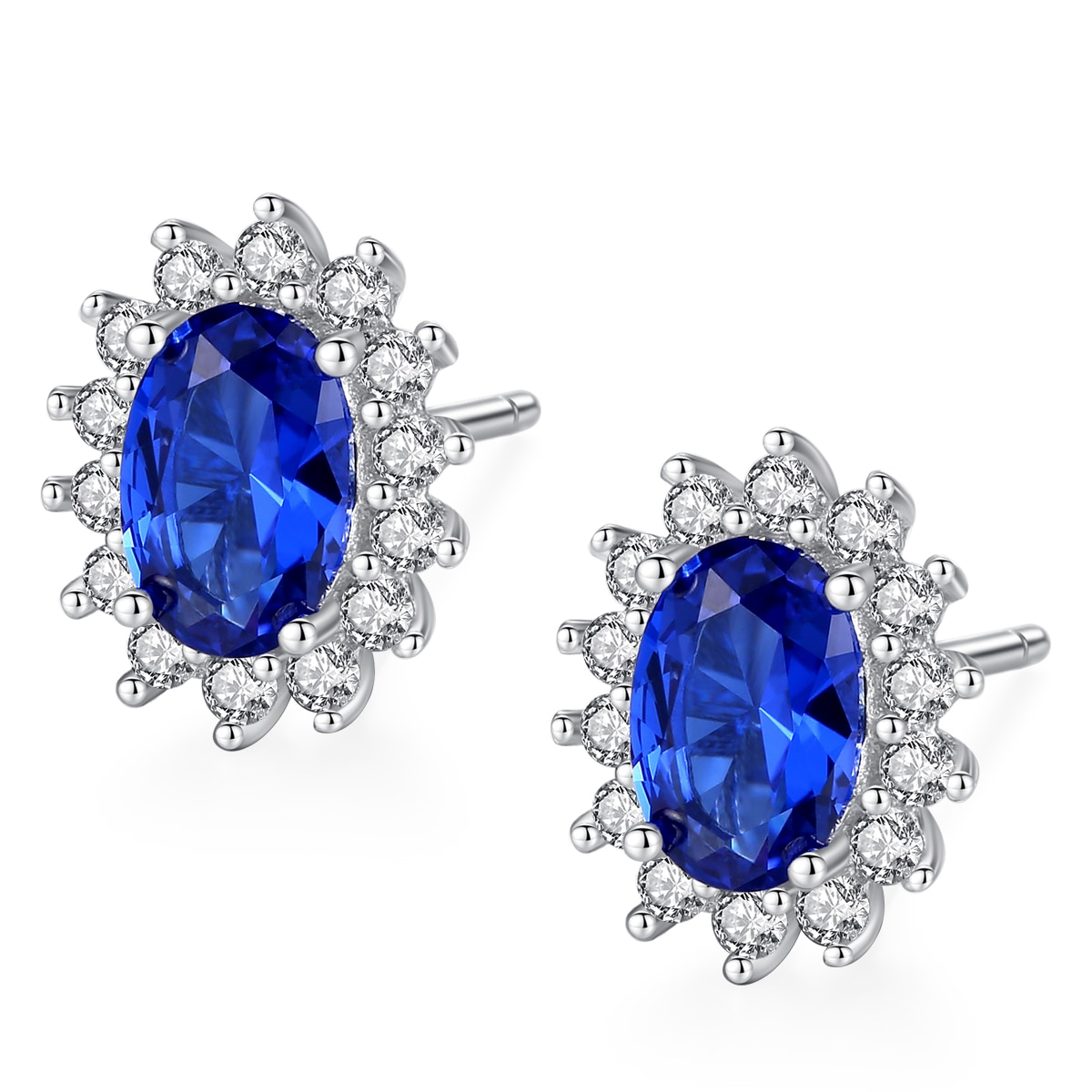 Allakalo natural birthstone azul real oval safira brincos sólidos 925 prata esterlina jóias finas para presente feminino ae001