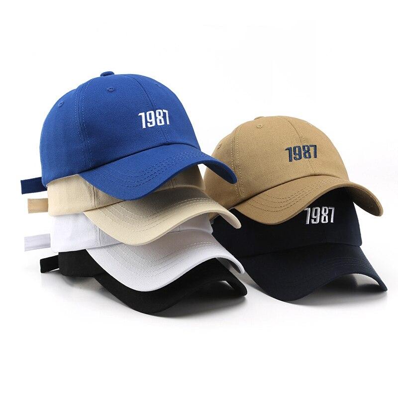 Модная бейсболка из искусственного хлопка, Снэпбэк Кепка унисекс, весенне-летние солнцезащитные кепки 1987, кепки с вышивкой, головные уборы