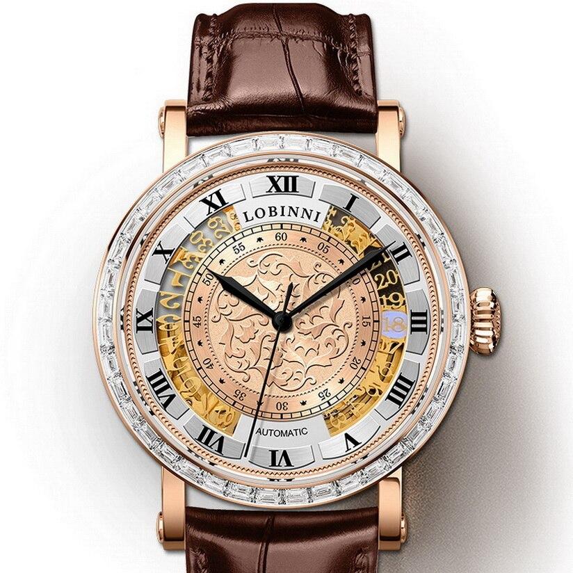 Reloj LOBINNI para hombre, relojes automáticos de lujo resistente al agua de 50m, reloj de pulsera mecánico para hombre, reloj de Suiza para hombre, zafiro