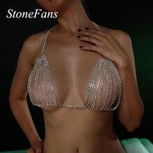 Stonefans cercle rond strass soutien-gorge haut poitrine chaîne pour les femmes Sexy cristal sous-vêtements érotiques bijoux de corps cadeau de fête de noël