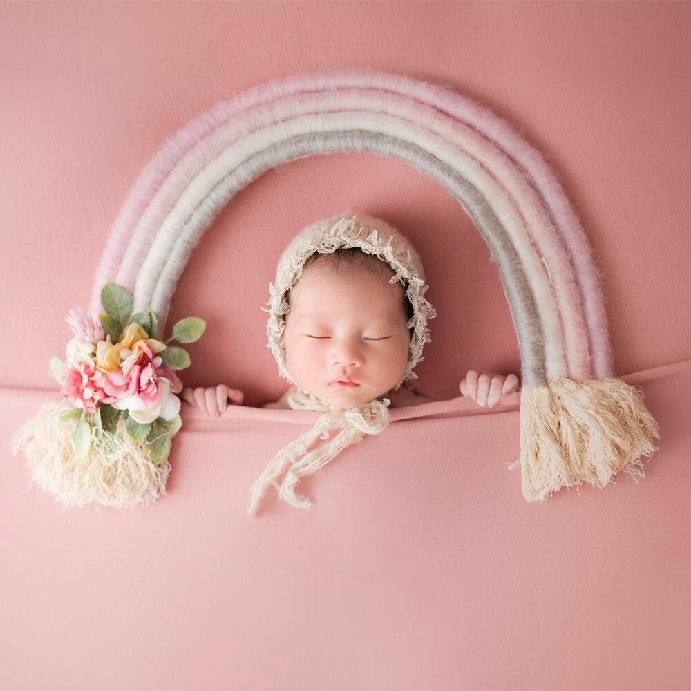 Новые Яркие ручной работы юбка цветов радуги детская фотосъёмка реквизит с длинным Ленточки для новорожденных аксессуары для детской фото...