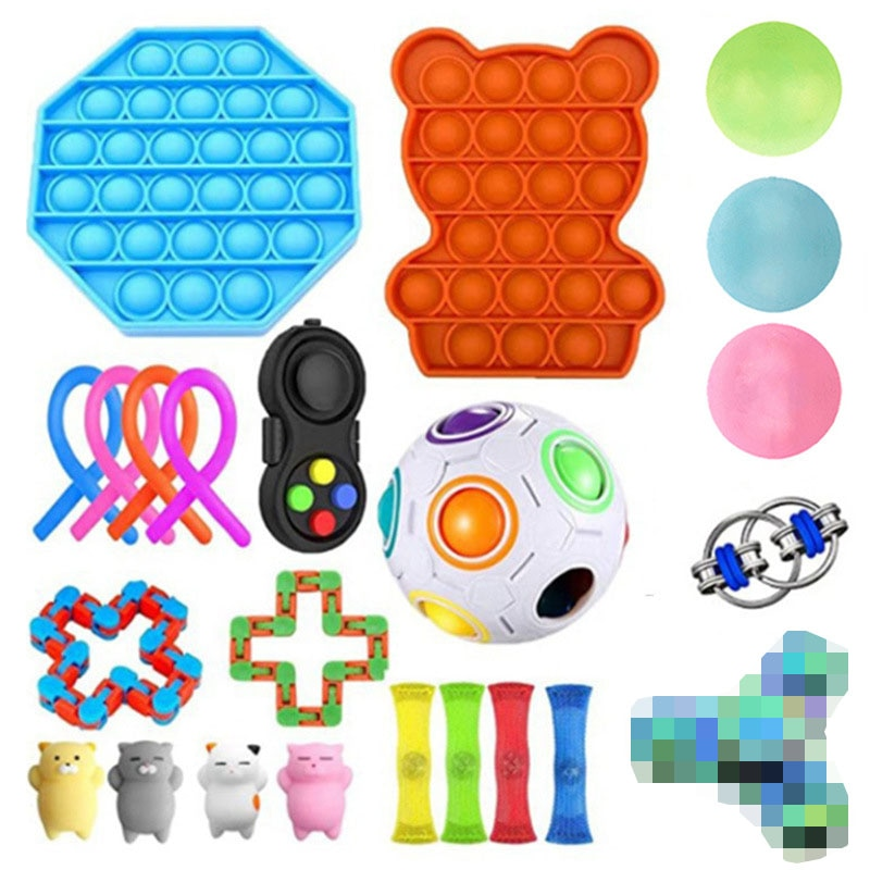 31 Pack Fidget Toys Sensory Set Antistress Relief Pops it Bubble Autism Anxiety Anti Stress Decompression Toy for Kids Adults enlarge