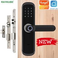 RAYKUBE Fingerprint Lock Wifi Tuya Smartlife APP IC Card Digital Code Electronic Door Lock Home Security Mortise Lock X3