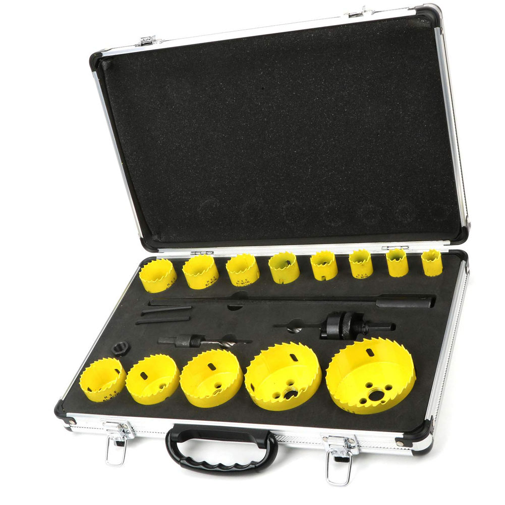 17pcs Hole Saw Kit Hole Saw Drill Bit with Case Smooth Precise Holes Carbide Cobalt Steel Cutter Plate Iron Metal Cutting Kit