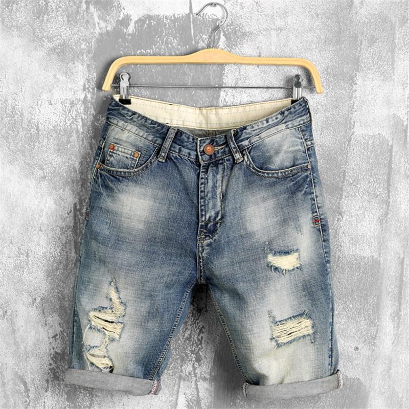 Новинка, летние джинсовые шорты, мужские джинсы, мужские джинсовые шорты, мужские Бермуды для катания на коньках, мужские шаровары, мужские ...