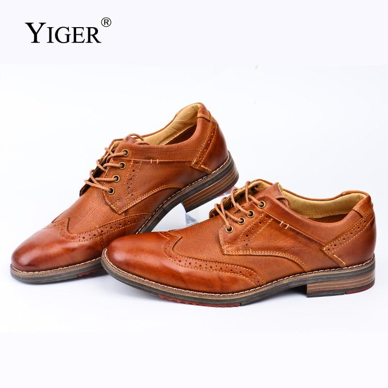 YIGER nouveau hommes chaussures habillées Bullock en cuir véritable chaussures homme grande taille à la main chaussures formelles hommes daffaires oxford chaussures 439