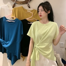 Irregular Knotted Short-Sleeved T-shirt for Women Niche Design Loose Korean Style Ins Trendy Spring