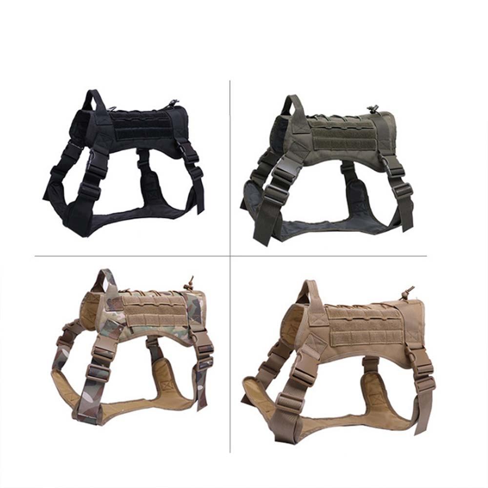 Arnés táctico militar para perros, chaleco para perros con asa de Nylon, arnés con correa elástica para perros pequeños y grandes