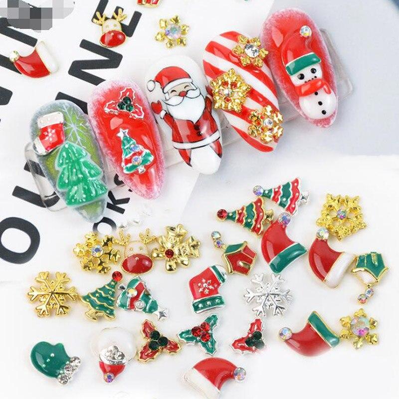Смешанные рождественские заклепки для ногтей, украшения для ногтей, Женские аксессуары для дизайна ногтей, DIY сплав для красоты ногтей для д...