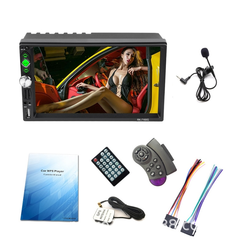 Car Radio 2 Din Auto Radio 7 Inch Car Fm Radio HD 1080P GPS Navigation FM Bluetooth Multimedia Video Player with Microphone Remo