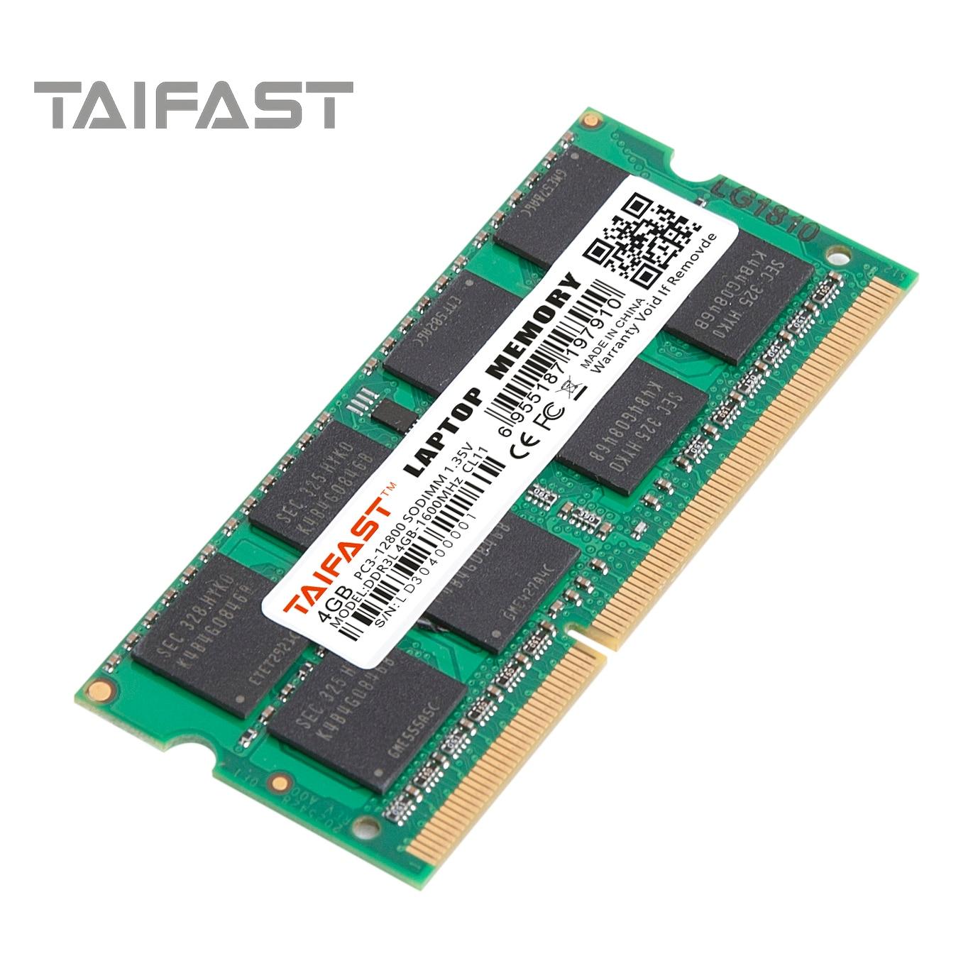 Taifast RAM para que DIMM DDR3 DDR3L 8 GB 4GB 1333MHZ 1600MHZ SODIMM 8 GB de 1,35 V para la memoria del ordenador portátil