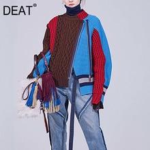 DEAT 2020 새로운 가을, 겨울 라운드 넥 풀 슬리브 뜨개질 지퍼 대비 색 카디건 여성 의류 WN60205L