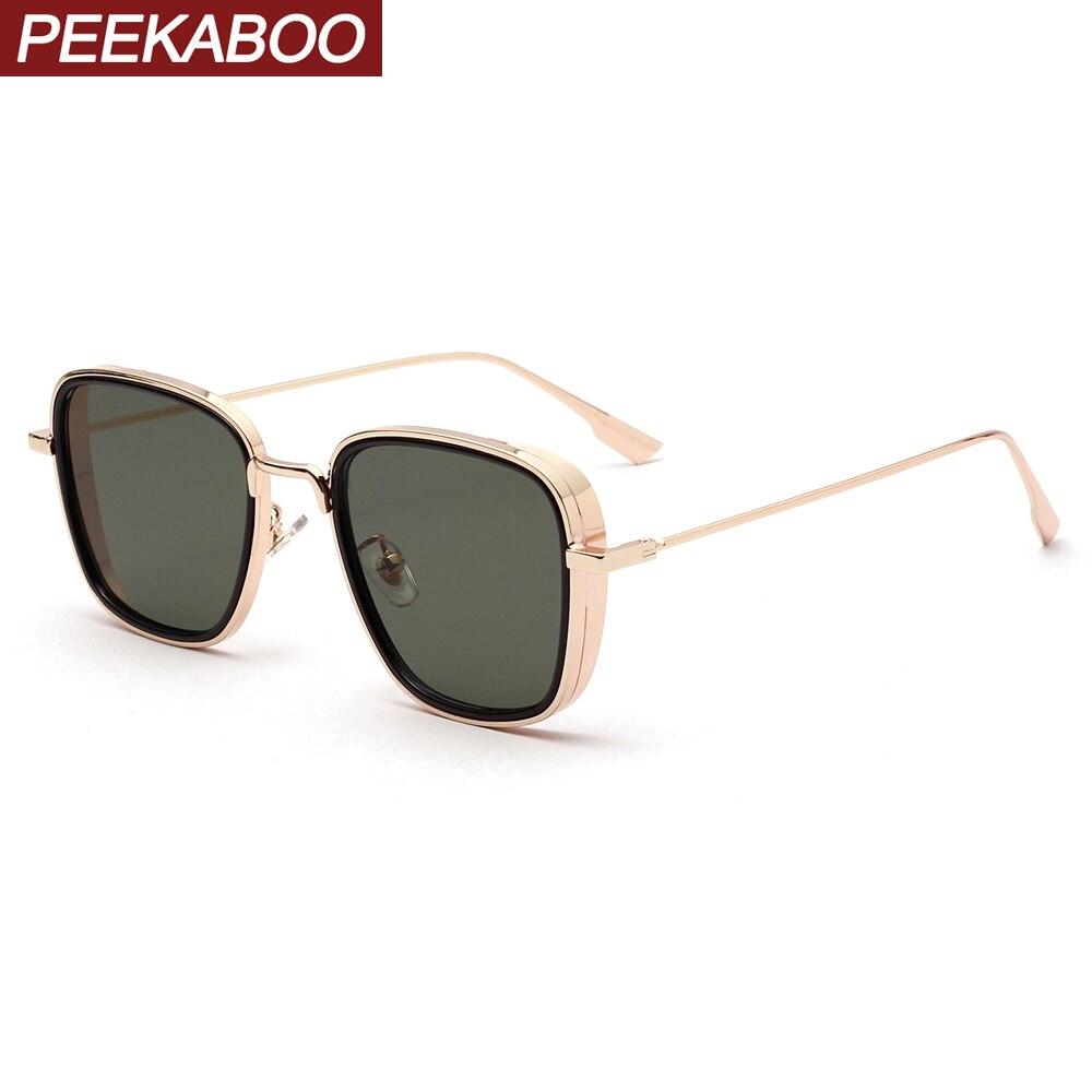Peekaboo-lunettes de soleil en métal rétro, carré or vert, articles cadeaux pour le nouvel an, petites lunettes de soleil uv400, collection 2020