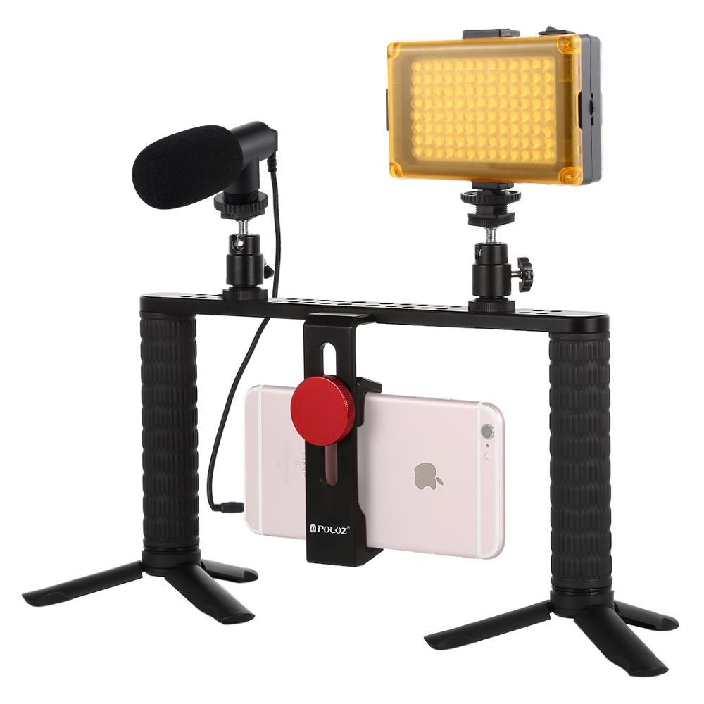 Puluz 4 em 1 youtube vlogging transmissão ao vivo smartphone equipamento de vídeo alça filmmaking gravação estabilizador kits suporte alumínio