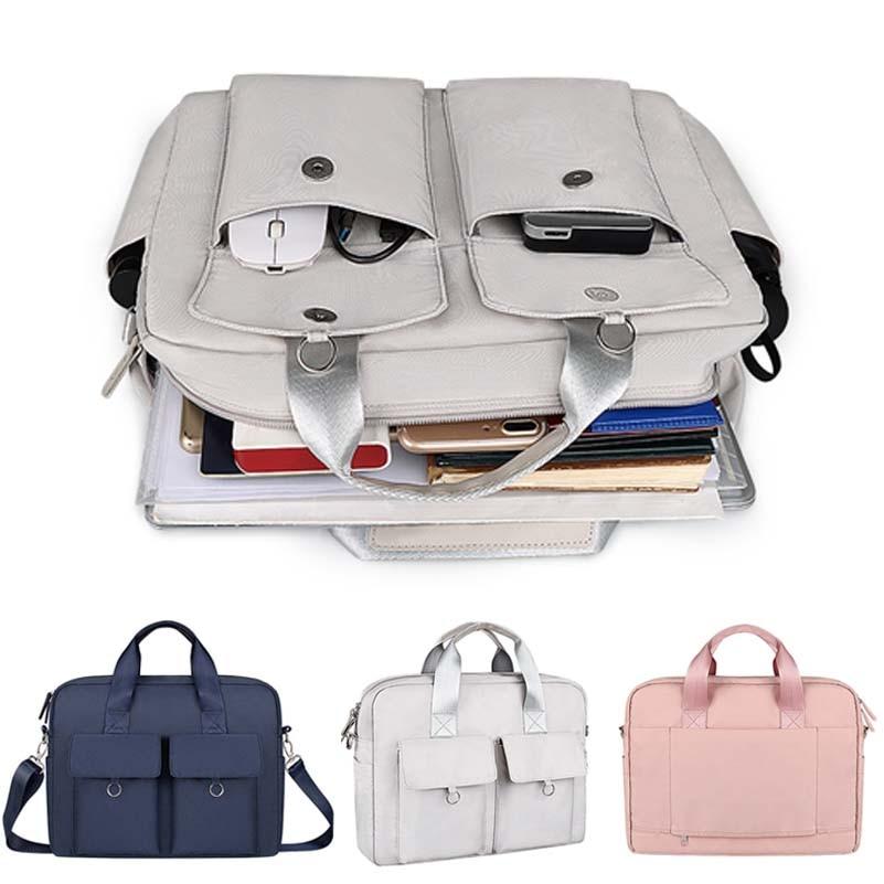 حقيبة كتف للكمبيوتر المحمول متعددة الجيوب للرجال والنساء ، حقيبة كتف للكمبيوتر ، حقيبة مستندات ، حقيبة سفر للأعمال