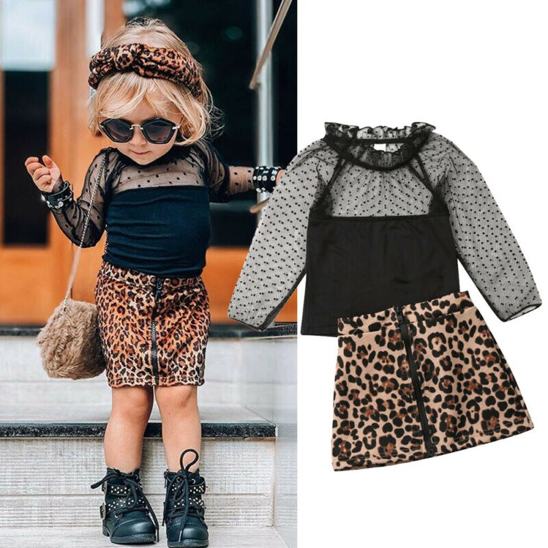 2 uds. De niña pequeña de manga larga de encaje camisa de malla tapas falda de leopardo moda Niñas Ropa conjunto