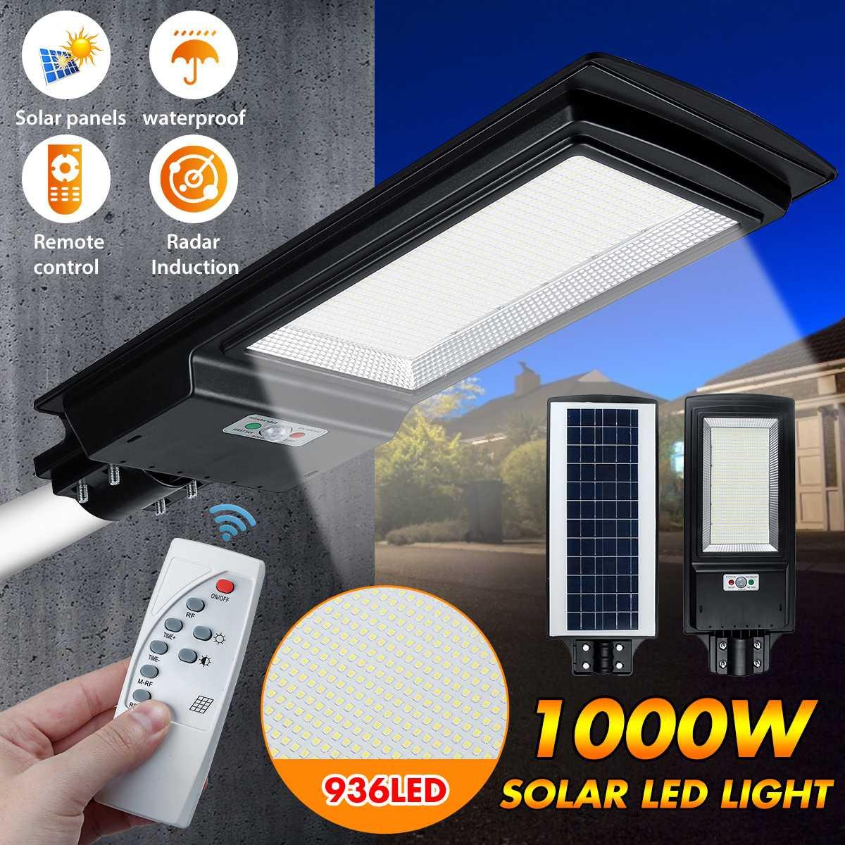 1000w 936 led solar luz sensor de movimento pir jardim parede luz eficiente ao ar