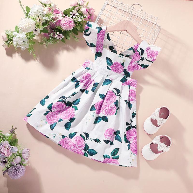 2021 Baby Girl Dress Kids Summer Clothes Fairy Elegant Designer Pink Birthday Kawaii Fashion Flower Casual Sling Evening Costume