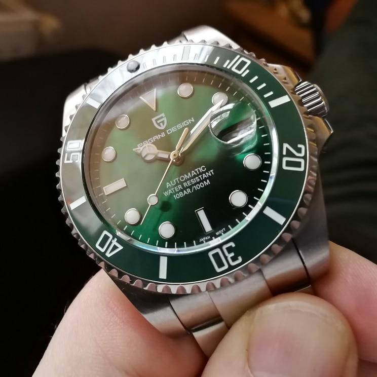 PAGANI تصميم الميكانيكية الرجال ساعة جديدة سلسلة شبح المياه الكلاسيكية الأخضر الهاتفي الفاخرة التلقائي ساعات رجالي 100 متر ساعة مقاومة للماء
