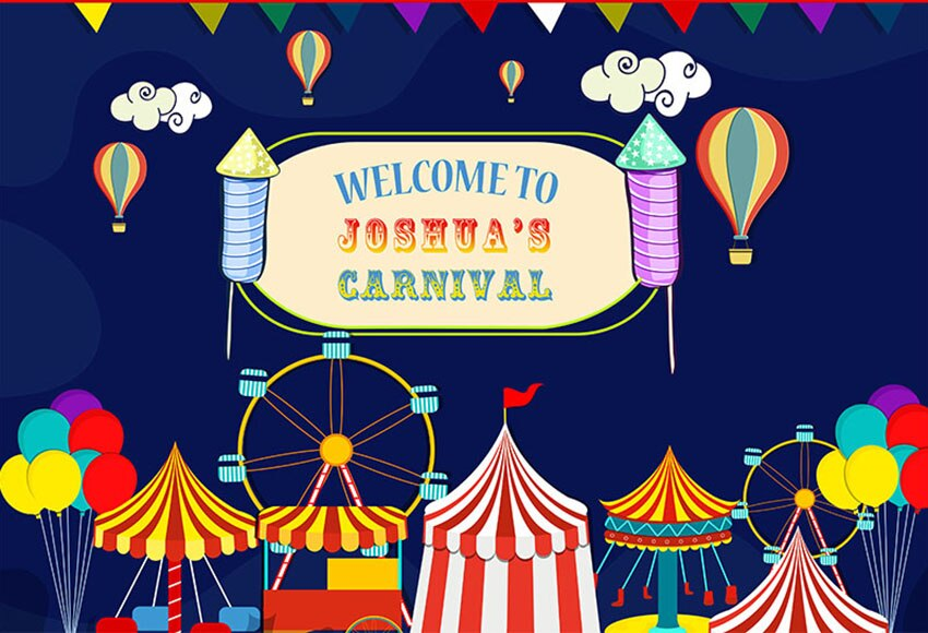 Telón de fondo fotografía vinilo de circo, de Carnaval fiesta Bunting 1st fiesta de cumpleaños fondos Photocall