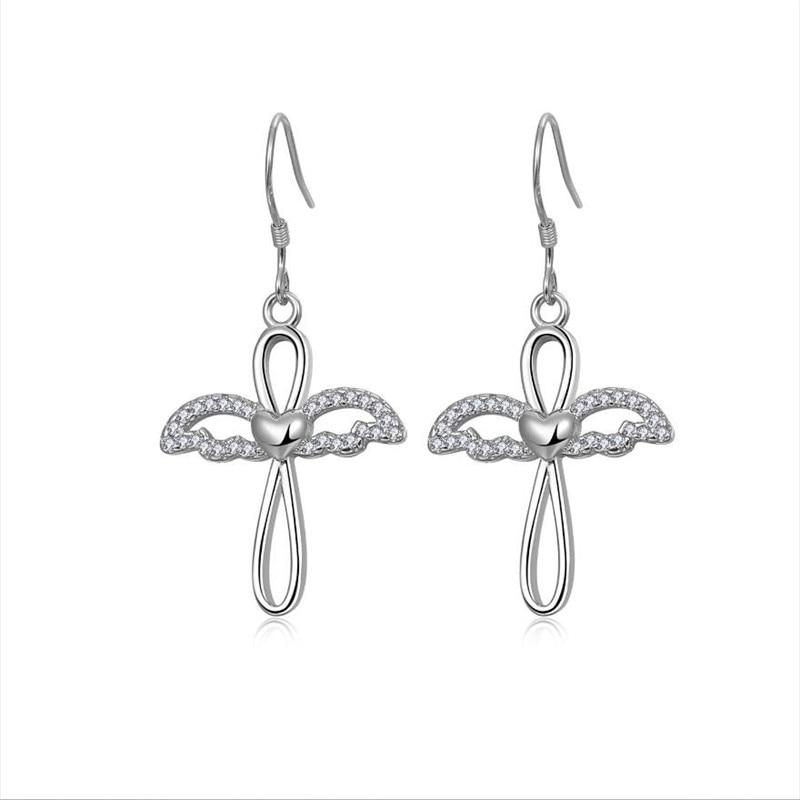 Pendientes de plata 925 de alta calidad para niñas, joyería de Zircón de moda, accesorios de Piercing para mujer