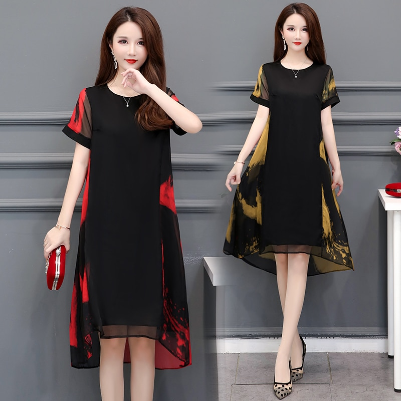 HAYBLST marque robe femmes 2020 nouveau été grande taille manches courtes vêtements élégants Vestidos amples Style coréen en mousseline de soie vêtements