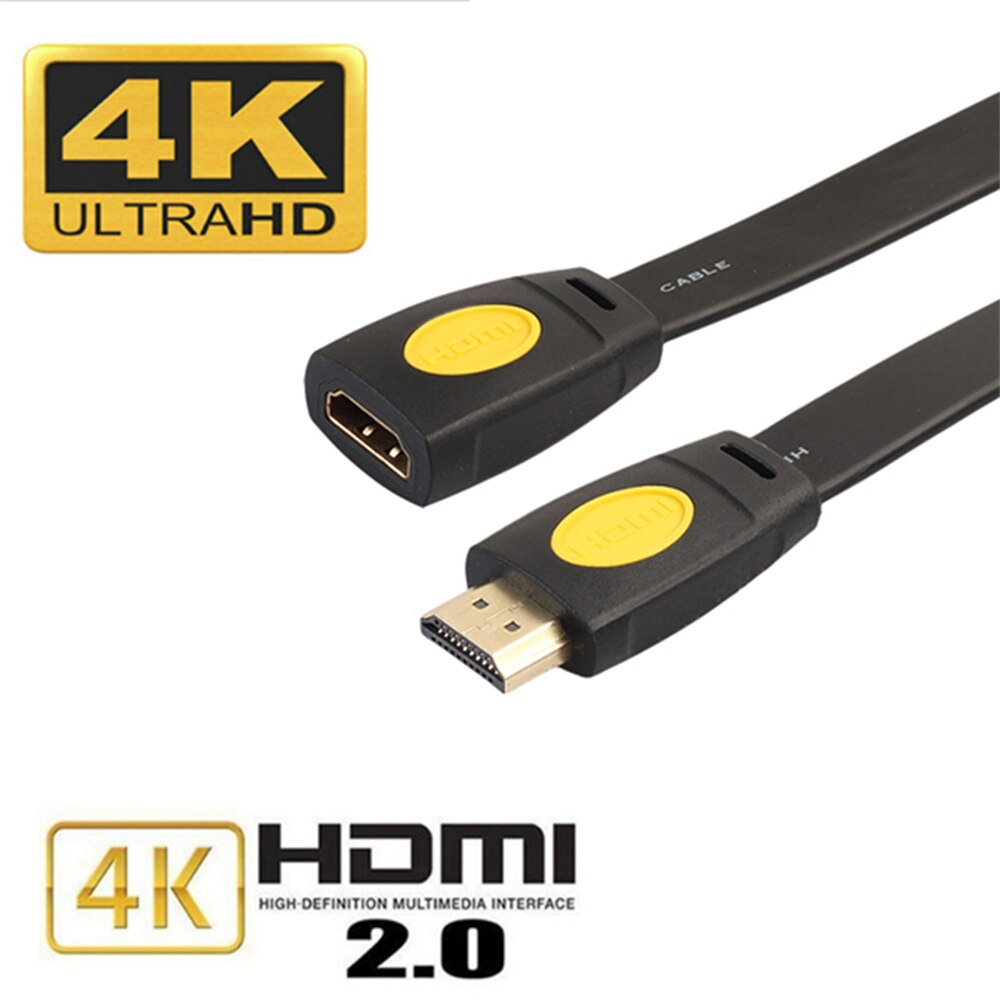 HDMI 2,0 de extensión plana Cable de Cables de TV 4K 3D 19 + 1 macho a hembra conector bañado en Oro línea de adaptador para TV Set caja de DVD PS3 /4 PC