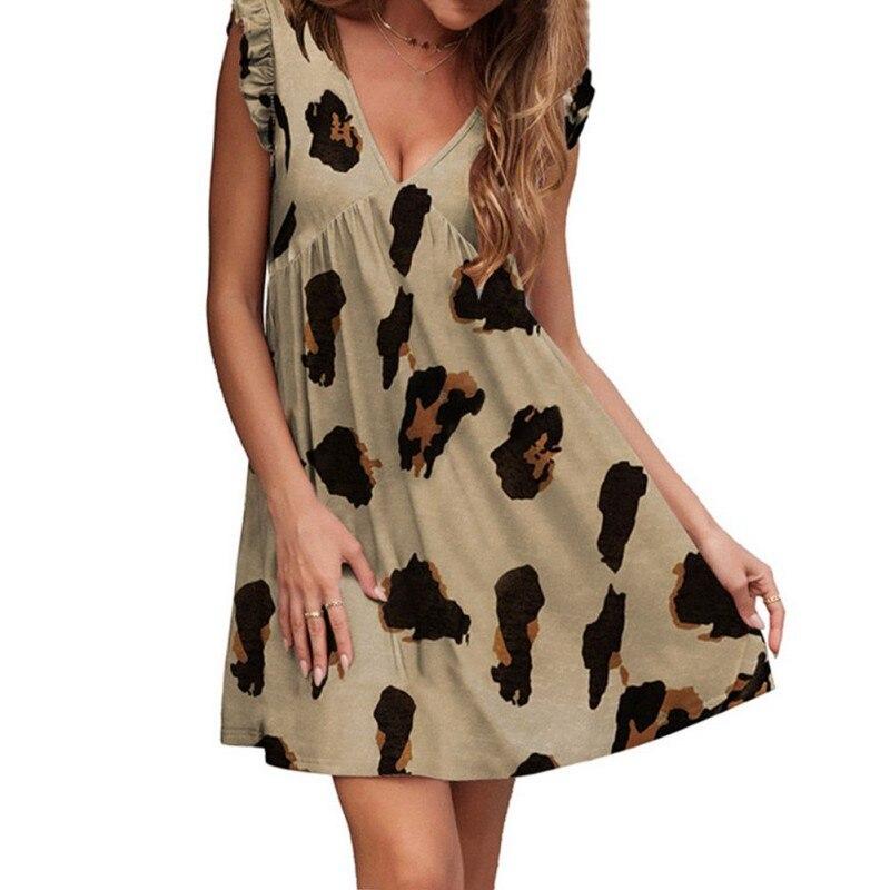 ROPALIA Women Fashion Leopard Print Dress Summer Short-sleeved Ladies Dress Fashion Casual Mini Dress