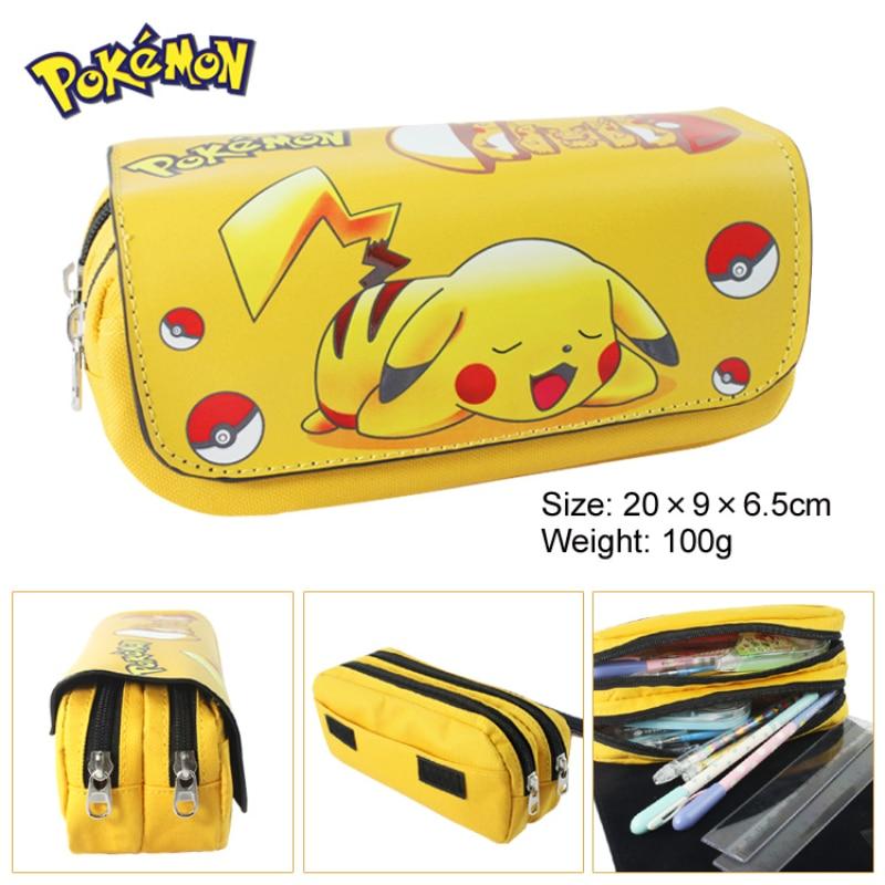 Pokemon Pencill Case School Cartoon Pikachu Black Pen Bag School Supplies Stationery Schoolbag Birth
