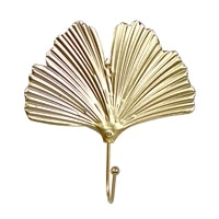nordic style gold green leaf shaped wrought iron hook wall mounted toweling clothes storage rack home storage hooks