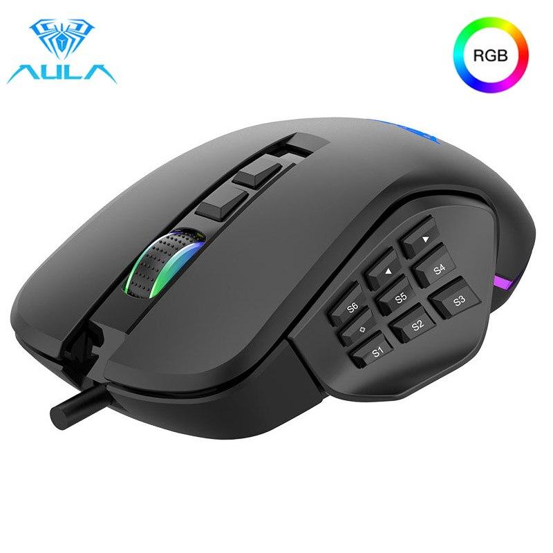 Aula Gaming Mouse 10000dpi Ajustável 9 Lado Buttonsbacklit Gamer Ratos Macro Programável Ergonômico H510 Rgb