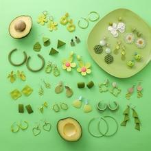 1 Paar Nieuwe Mode Green Dangle Oorbellen Charm Hanger Drop Vintage Oorbellen Sieraden Gift Vrouwen Leuke Stud Oorbellen Sieraden