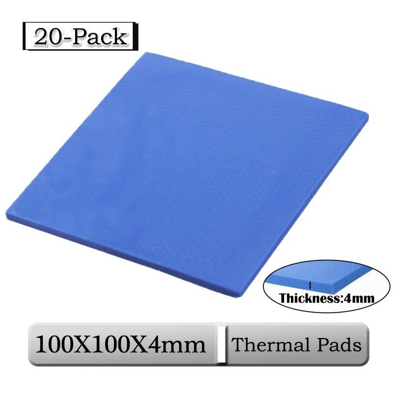 20 قطعة/الوحدة Gdstime 100x100x4 مللي متر 4 مللي متر سمك غرفة التبريد لوحة موصل الحرارية 100x4 مللي متر 0.4 سنتيمتر الأزرق الحرارية سادة سيليكون وحدة المعا...