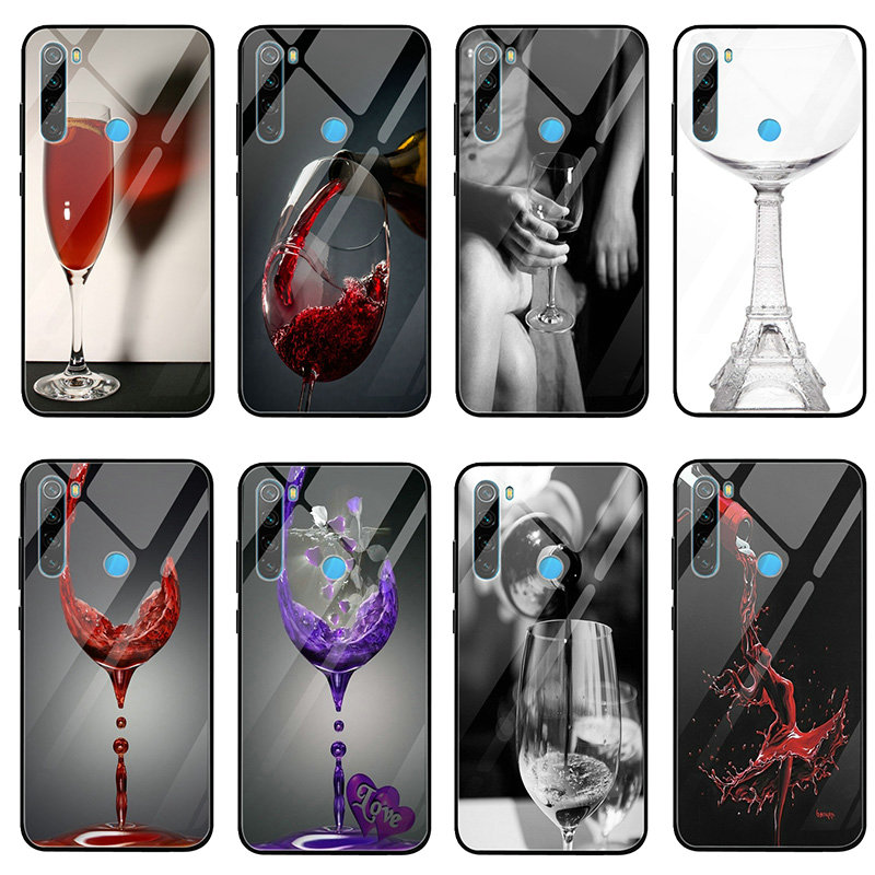 Tempered Glass Cover Case for Xiaomi Redmi Note 4 4X 5A 5S 6X 7 7A 8 8A 9 SE A1 A2 Lite Plus Paris Eiffel Tower Red Wine Glass