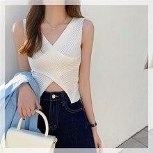 CMAZ New Arrival Women Summer Sexy T Shirt Solid Casual V-neck Sleeveless Streetwear Hot Girl Short
