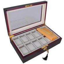 12 Slots Wrist Watch Box Display Case Wooden Glass Top Jewelry Storage Organizer