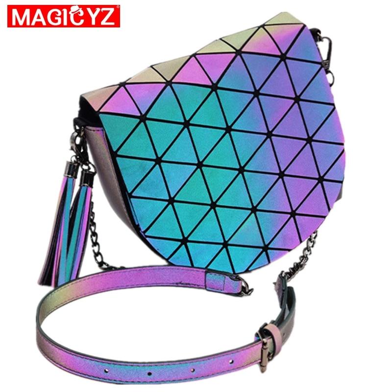 Fashion luxurious saddle bag for women Holographic luminous shoulder bag Tassel chain flap bag Femal