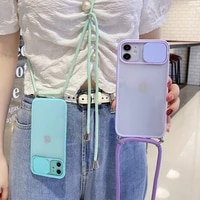 camera lens protection strap cord chain phone case on for iphone 12 11 pro max 8 7 6 plus xr x xs max se 2020 lanyard soft cover
