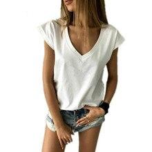 Летняя женская футболка с коротким рукавом и v-образным вырезом, свободная повседневная сексуальная женская футболка, Camisetas Feminina, Женские Простые Топы