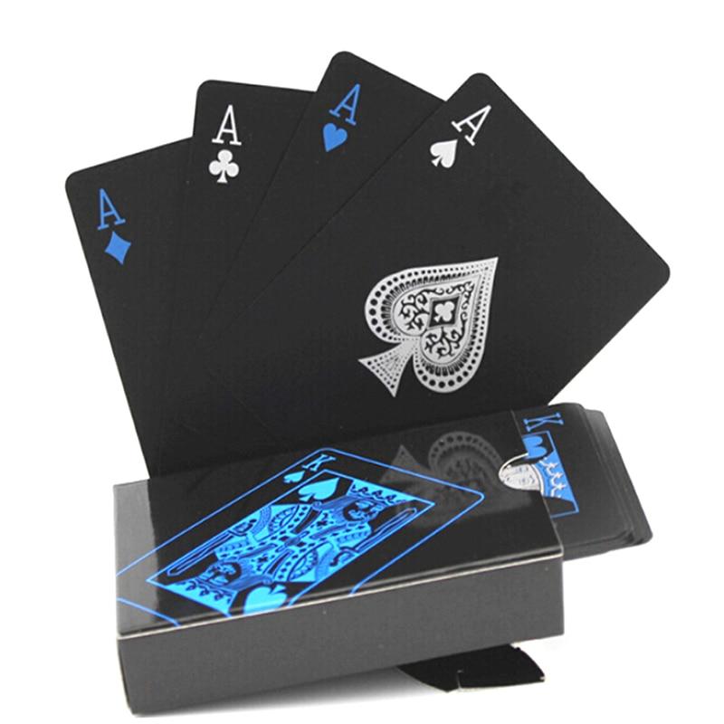 54pcs Waterproof PVC Pure Black Magic Box-packed Plastic Playing Cards Set Deck Poker Classic Magic Tricks Tool